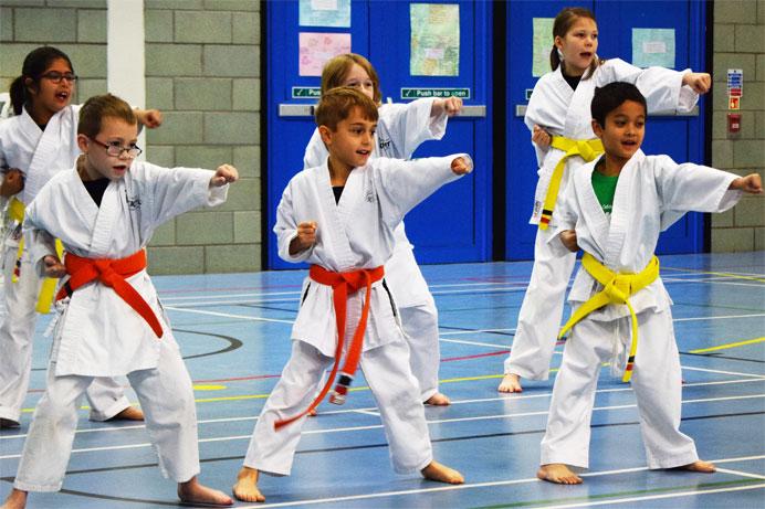 kids karate class group